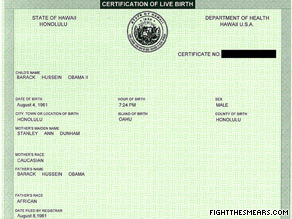President Obama's certification of live birth.