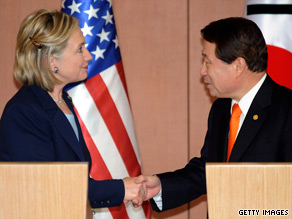 Secretary of State Hillary Clinton met Wednesday with South Korean President Lee Myung-bak.