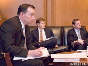 Mike Lee (far left) captured the GOP Senate nomination in Utah Tuesday night.