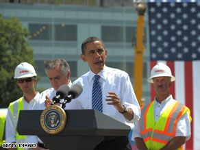 President Obama delivers a speech after touring a construction site.