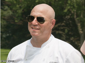 Tom Colicchio during a visit to the White House garden.
