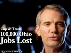 Ohio Senate candidate Rob Portman released an ad Tuesday that Democrats claim is hypocritical.