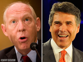 Former Houston mayor Bill White, a Democrat, has a more than $3 million cash advantage over Texas Gov. Rick Perry, right.
