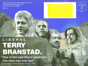 This mailer attacking Iowa gubernatorial candidate Terry Brandstad was sent to voters by the Democratic Governors Association--during the republican primary.