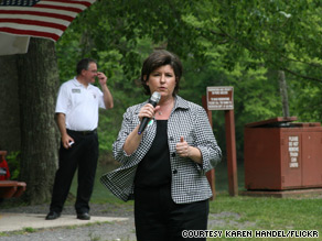 After a key endorsement from Sarah Palin, Georgia Secretary of State Karen Handel holds a lead in Georgia's GOP primary race, according to a new poll.