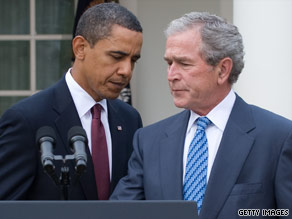 President Obama has twice mentioned former President Bush in speeches this week.
