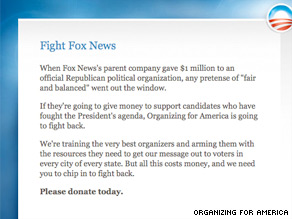 Organizing for America is fundraising off of the news that Fox News' parent company gave a large donation to the Republican Governors Association.