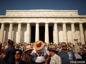 People flocked to the National Mall and Lincoln Memorial to hear conservative commentator Glenn Beck speak at his 'Restoring Honor' rally.
