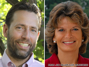 More than 25,000 ballots remain uncounted in Alaska's GOP Senate primary between Joe Miller (left) and Lisa Murkowski (right).