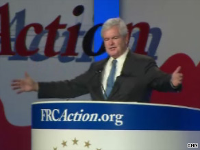 Gingrich delivered an impassioned speech before the Values Voter Summit Saturday.