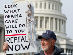 A man protested health care legislation at a Tea Party protest last month.