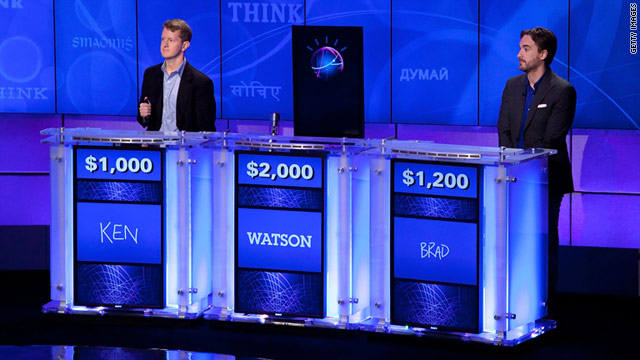 "IBM's Watson computer is competing against former champs Ken Jennings, left, and Brad Rutter on ""Jeopardy!"" this week."