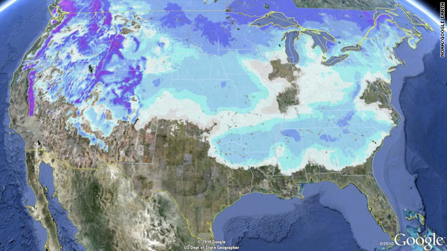 Snow map of the US