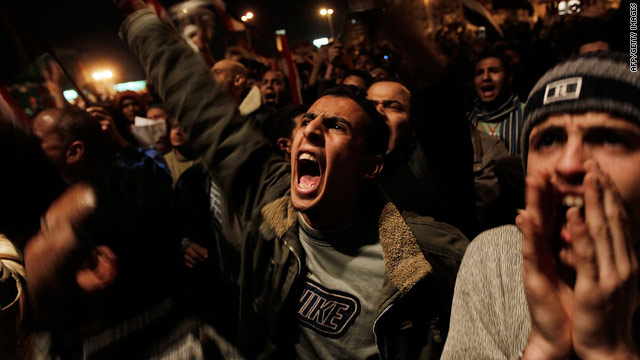 Outraged protesters in Tahrir Square after Egyptian President Hosni Mubarak said he would stay in office until September elections.