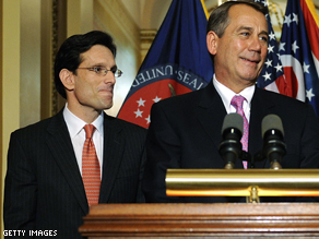(L to R) House Majority Leader Eric Cantor (R-VA), House Speaker John Boehner (R-OH).