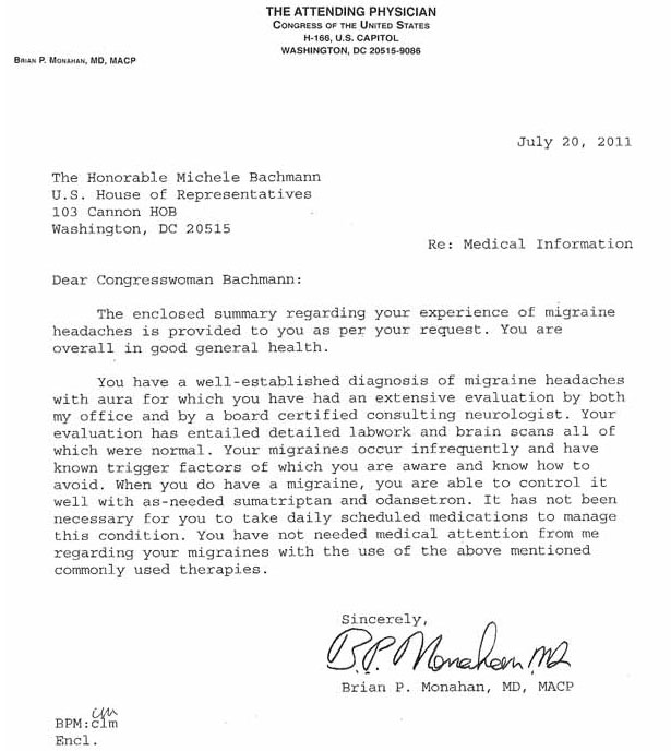 Bachmann Gets A Doctor's Note Democratic Underground