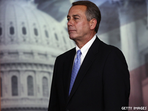 House Speaker John Boehner (R-OH) at a news conference earlier today.