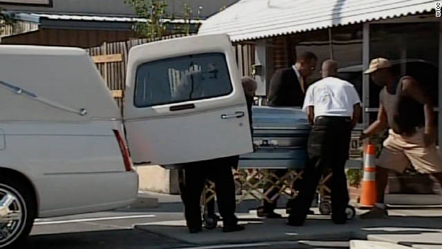 Troy Davis' casket is removed from a hearse on Friday, September 1.