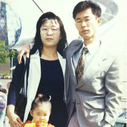 Freedom University student Keish and her parents in South Korea.
