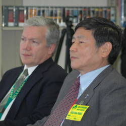 Dr. Terry Shrader, principal and Dr. Hsiang-Te Kung, director of the Confucius Institute attend the dedication of the Confucius Classroom at Hillsboro High School.