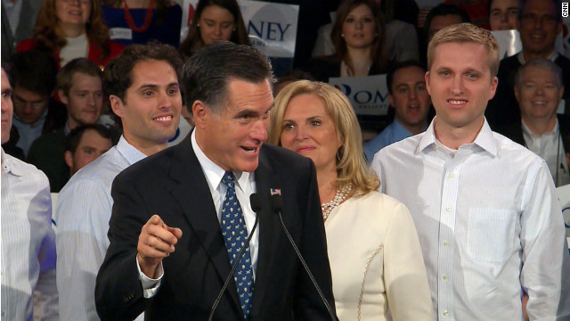 Mitt Romney speaks in Manchester, New Hampshire, after a projected win in the New Hampshire primary.