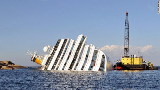 The Costa Concordia struck rocks off Italy on January 13 with about 3,200 passengers and 1,000 crew members on board.