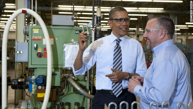 President Obama visits a Master Lock factory. Jeffrey Bergstand says manufacturing's heyday is over in the United States.