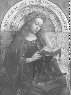 <br/>The same panel of the Virgin Enthroned seen with digital infrared macrophotographs. One major question scholars are hoping to answer is how involved Hubert van Eyck, older brother of Jan van Eyck, was in the painting of the work.