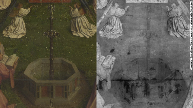 <br/>A detail from the famed Adoration of the Lamb. Viewed with digital macrophotographs on the left and an assembly of digital infrared reflectograms on the right.