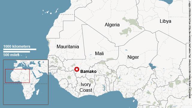 El mapa muestra la ubicación de Malí