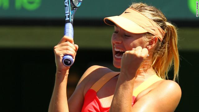 Maria Sharapova celebrates her superb straight sets victory over Li Na in Miami.