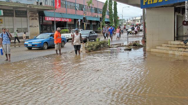 Floodwaters inundate the tourist town of Nadi on the island of Viti Levu, Fiji.