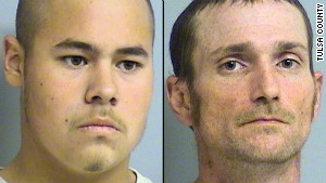 Jake England, 19, and Alvin Watts, 32, were arrested Sunday in connection with shootings in Tulsa, Oklahoma.