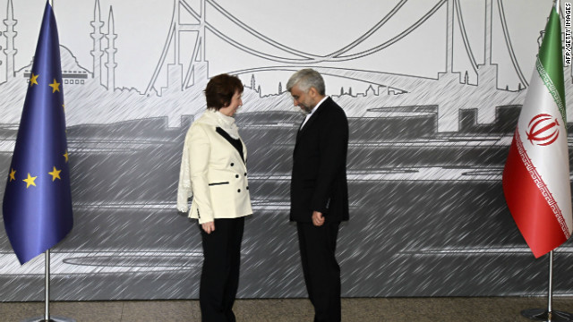 Iran's top national security official Saeed Jalili with European Union's foreign policy chief Catherine Ashton on April 14, 2012.