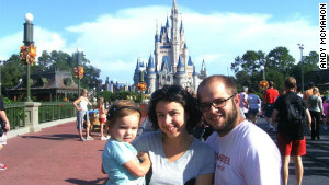Andy McMahon, with his family at Disneyworld last year, found his seven-year-old mug shot in an online publication