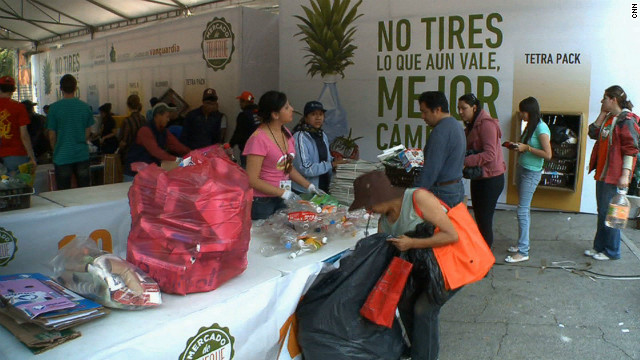 Residents of Mexico City are embracing a creative recycling program that is turning trash into food.