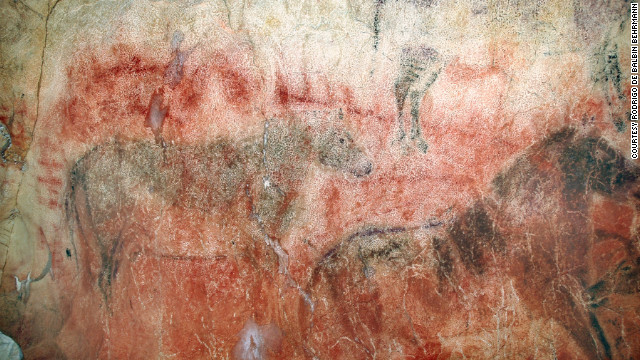 In Spain's Tito Bustillo Cave, scientists found these horse paintings overlaying older red paintings, which could be 29,000 years or older.