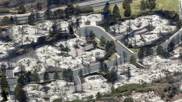 An aerial view of a destroyed neighborhood in the aftermath of the Waldo Canyon fire in Colorado Springs.