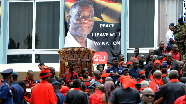 World leaders and mourners gathered Friday in Accra for the funeral service of late Ghanaian president John Evans Atta Mills, who died at a military hospital on June 24 after a period of illness.