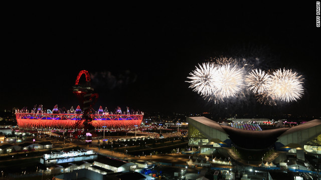 Fireworks light up the Olympic stadium during the closing ceremony.