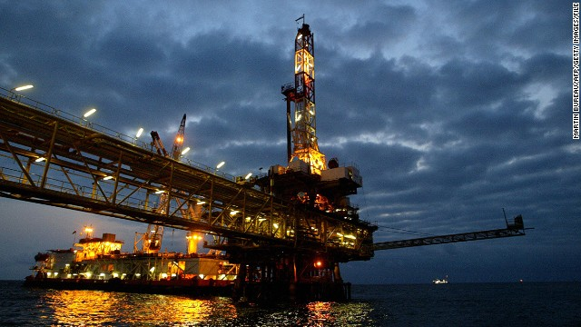 An oil offshore platform off the coast of Angola, Africa's second largest oil producer.