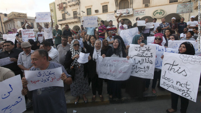 Demonstrators on Wednesday, September 12, gather in Libya to condemn the killers and voice support for the victims in the attack on the U.S. Consulate.