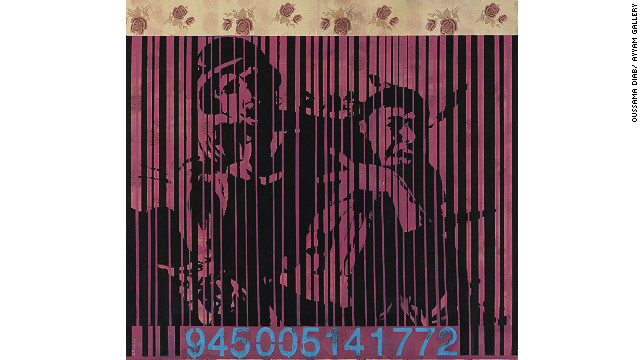 """This picture, called """"Barcode 2,"""" is taken from a photograph of one of the Palestinian intifadas and, says Daib, shows how politicians advertise violence. """"Although the picture is from the Palestinian intifada, it refers to all violence everywhere,"""" said added."""