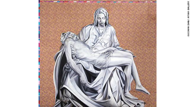 """""""New Pieta"""" reconfigures Michaelangelo's """"Pieta"""" sculpture, but adds a keffiyah to Jesus Christ to show him as a Palestinian rebel. """"Mary here is the mother of all Palestinian martyrs,"""" said Diab. """"Every day there's a new Jesus Christ in Palestine. Every day there's a new Mother Mary crying for her Jesus Christ."""""""