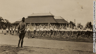The original inscription to this photo reads: 'Setting up exercises, Harvard ROTC, Soldiers Field 1917-1918.'