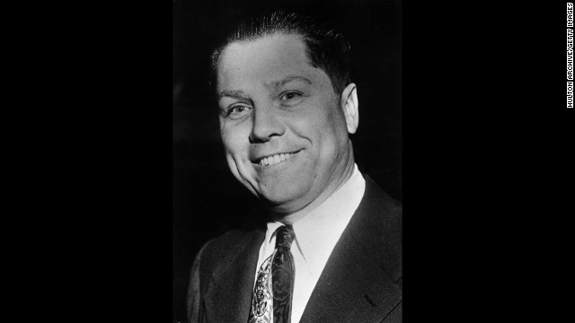 Nearly 40 years after his disappearance, former Teamsters boss Jimmy Hoffa, pictured circa 1955, remains among America's most famous missing persons. Authorities have been searching for the once powerful union boss since he vanished in 1975. The FBI said at the time that Hoffa's disappearance could have been linked to his efforts to regain power in the Teamsters after his release from prison. The hunt continues as police are set to drill in suburban Detroit on Friday, September 28.