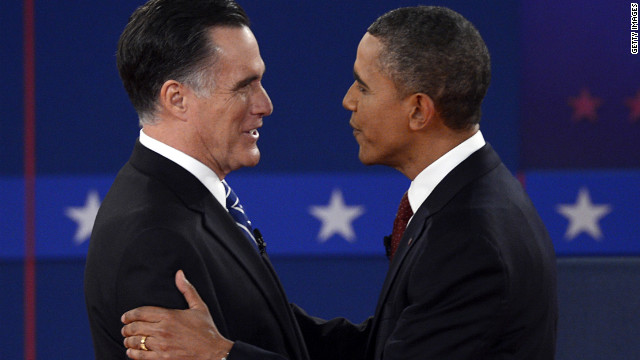 Romney and Obama shake hands at the second debate