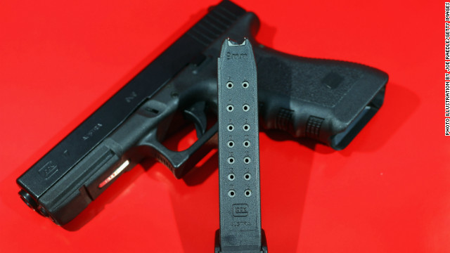 Guns offer equal opportunity tragedies, David Frum says. Here's a Glock pistol with a 17-round magazine.