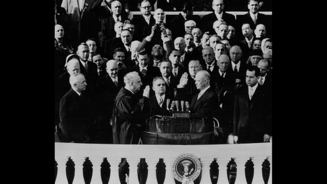 Dwight D. Eisenhower takes the oath of office on January 20, 1953.