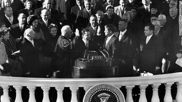 John F. Kennedy is sworn in on January 20, 1961.